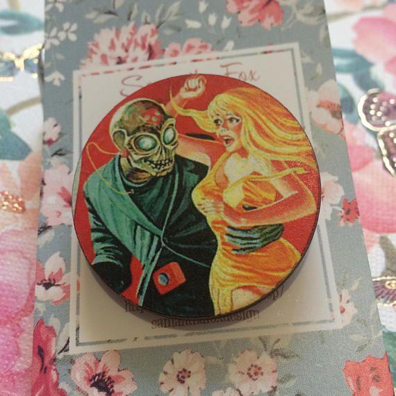 SALE, Handmade wooden brooch, Vintage Horror Movie Brooch, Women's Jewellery, Accessories, Birthday Gift, Horror Movie Jewellery