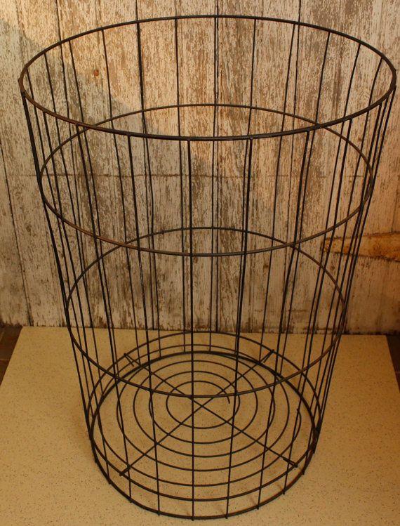ON SALE Industrial Wire Metal Laundry Basket by VandyleeVintage