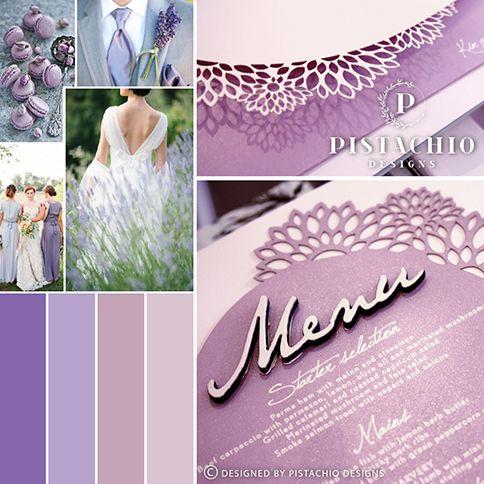 Purple petals wedding invitations by www.pistachiodesigns.co.za
