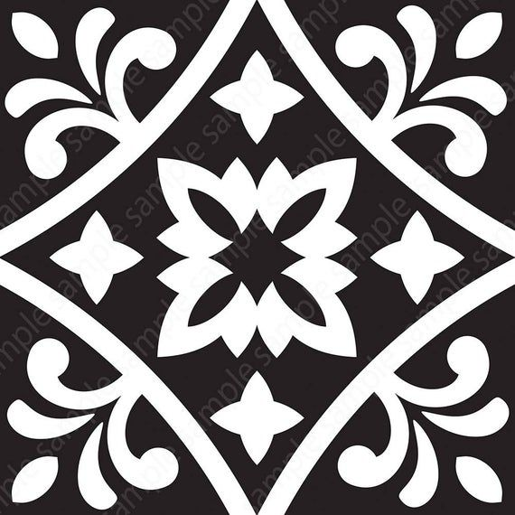 black white tiles printable wall art