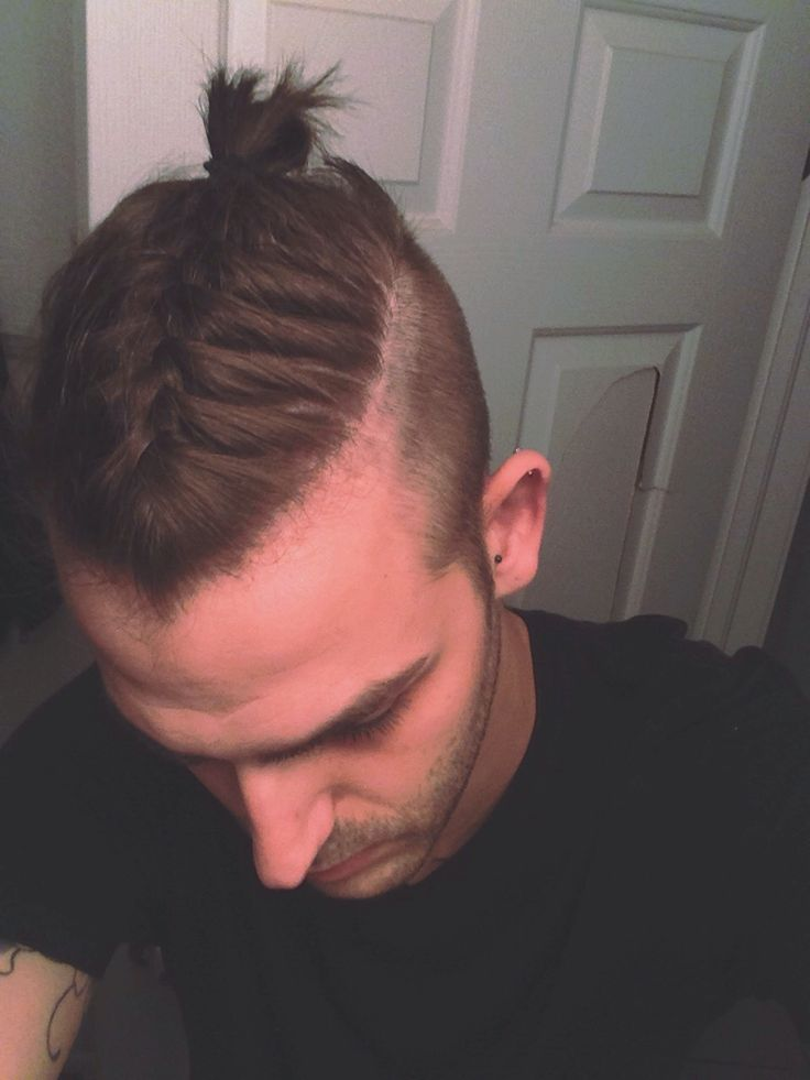 Pinterest:@keraavlon #Naturalhair Braided Man bun Hair style. Undercut top knot, french braided.