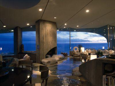 Malibu, California, Living Room at Dusk, Architect: John Lautner