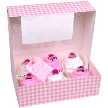 Now and Then - Boxed Baby Clothes Cupcakes - Pink