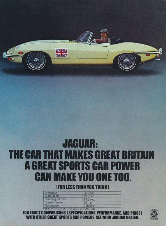 1968 Jaguar Convertible Roadster Car Ad Vintage Advertising Great Britain Print Wall Art Decor