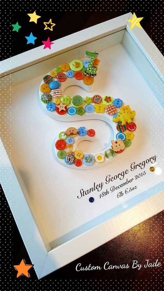 Check out this item in my Etsy shop https://www.etsy.com/uk/listing/266694768/personalised-baby-gift-button-frame