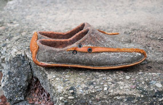 Gray Slippers handmade wool leather shoes - DAIVA