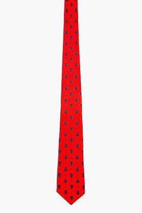 Alexander McQueen Red & Blue Silk Microskull Print Tie for men | SSENSE