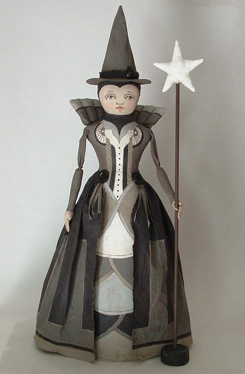 Halloween Witch Doll-- Contemporary Folk Art-- Queen of the Night