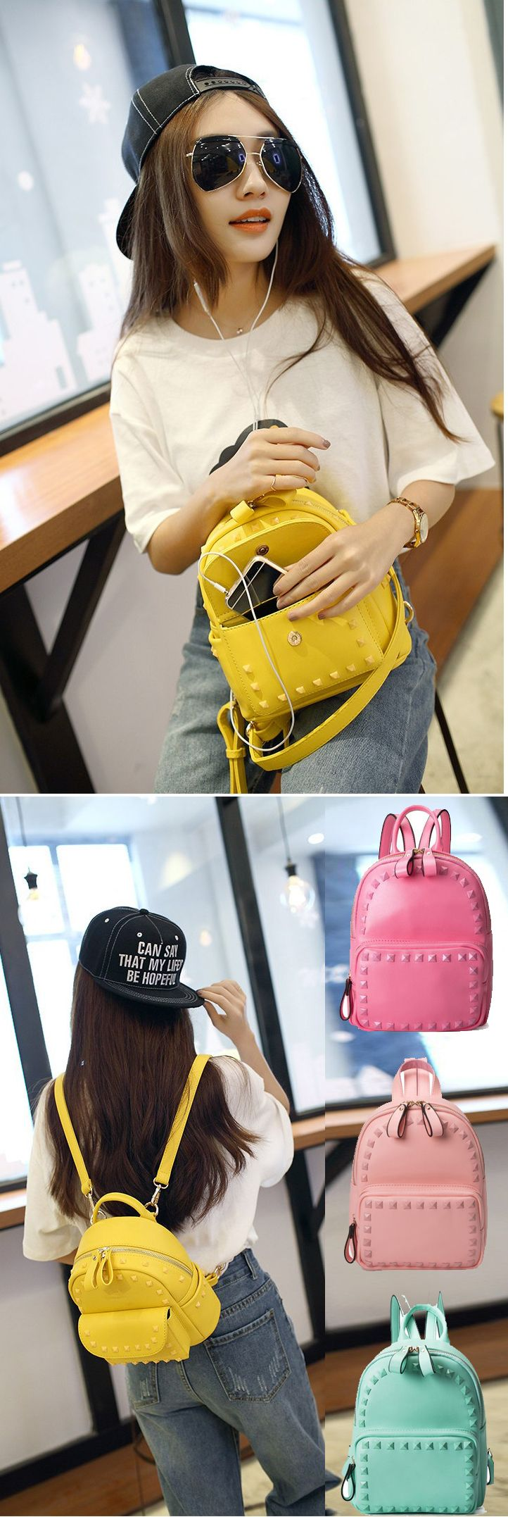 2017 New Arrival Fresh Multiple Colors Solid Rivet College Travel Backpack Cute PU Bag for Girls backpack trends 2017,backpack trends 2017 school,backpack trends 2017 women,backpack yellow,backpack yellow fashion,backpack pattern,backpack patches,backpack patches diy,backpack patches travel,backpack patches vintage,backpack for teens,backpack for teens school,backpack for teens 2017,backpack for travel,backpack for travel women,backpack for traveling,backpack for traveling bags,