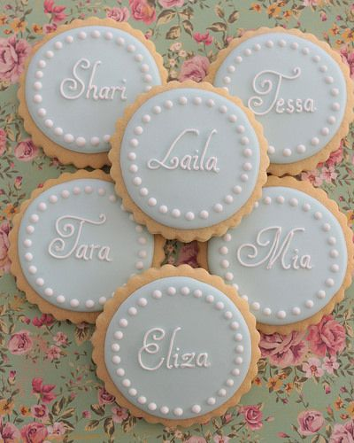 Personalised cookies might be sweet. With the expectant parents to be initials on them 'K & I'