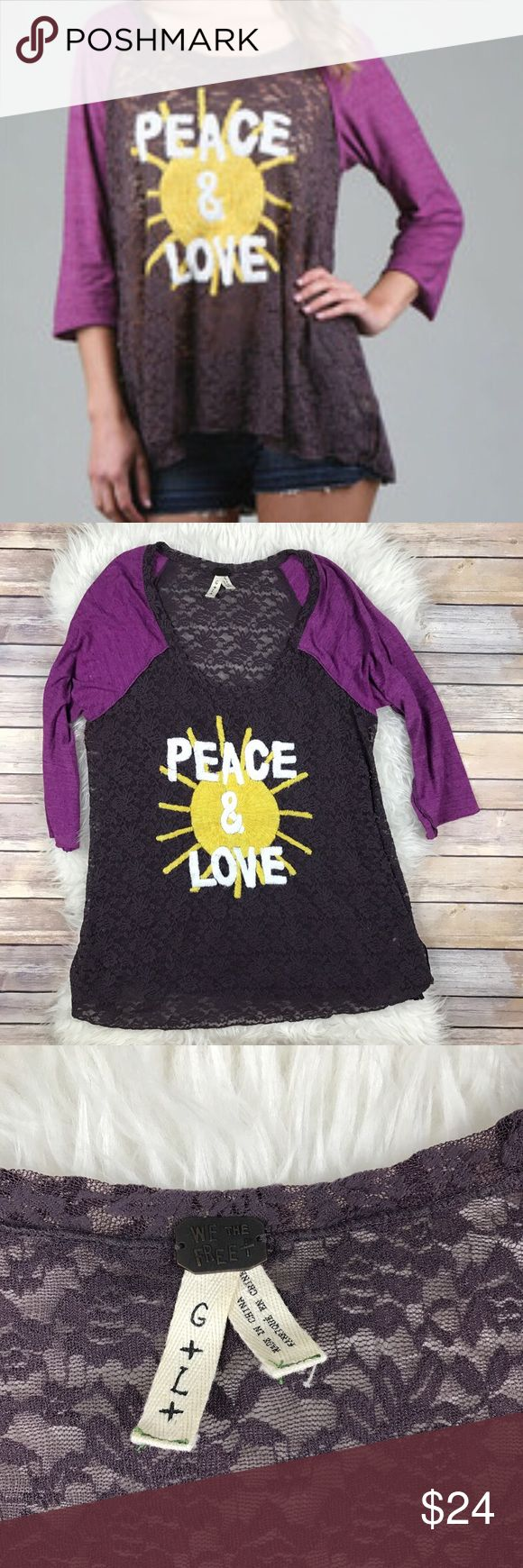 """We The Free Peace & Love Raglan Henley Tee Good condition Free People We The Free Peace & Love Lace Raglan Tee. Size Large. Stretchy Lace, Tunic style fit. 3/4 sleeves. Loose elastic threads under one arm, I've clipped most since the pic was taken. Bust 42"""", length 29"""". No trades, offers welcome. Free People Tops Tunics"""