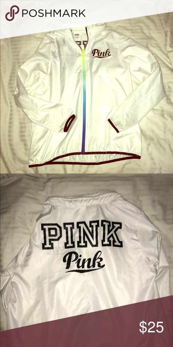 Victoria secret PINK white windbreaker Victoria secret PINK white windbreaker used with zippered compartment for hoodie Victoria's Secret Jackets & Coats