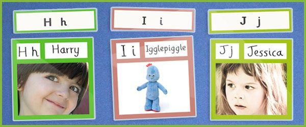 printable editable alphabet template-- add in family members, kids favorite things.