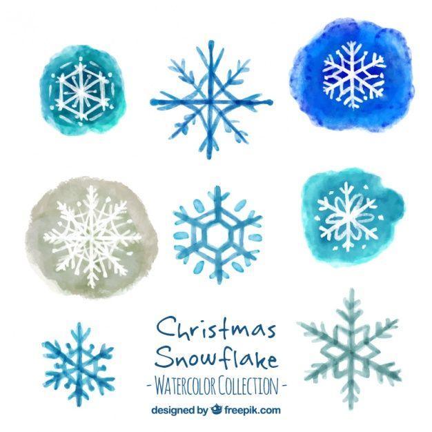 Assortiment de flocons de neige décoratifs peints à l'aquarelle Vecteur gratuit
