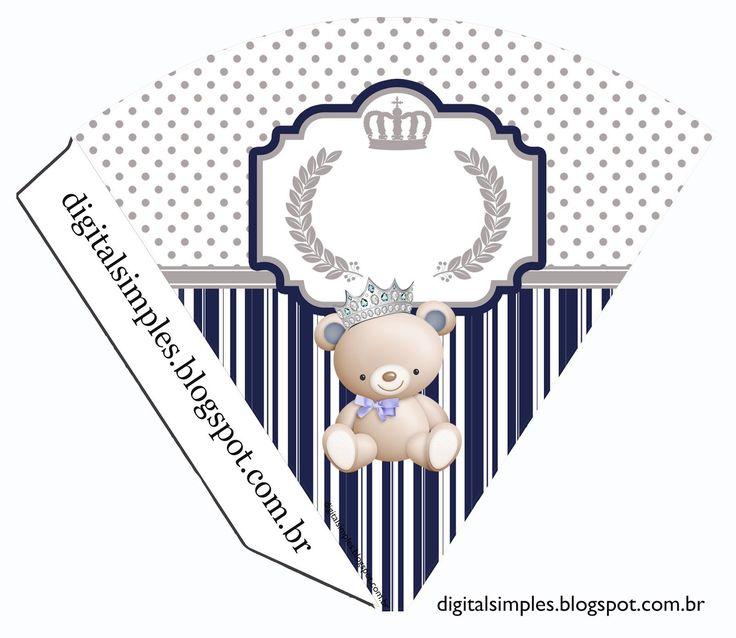 """Convites Digitais Simples: Kit Aniversário """"Ursinho Príncipe Azul"""" para Imprimir                                                                                                                                                      Mais"""