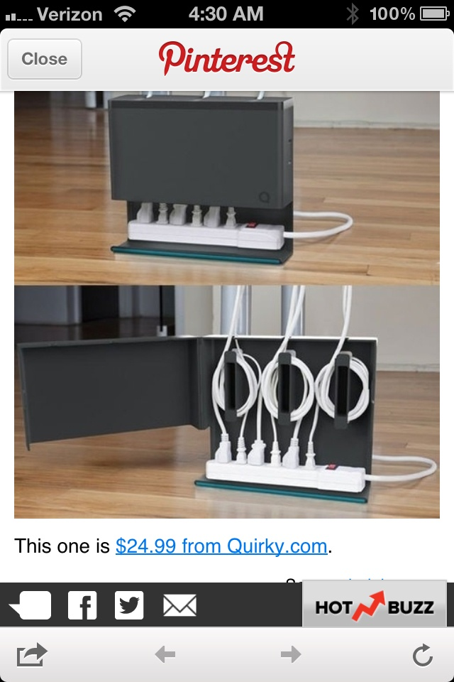 Gadget for storing electrical cords