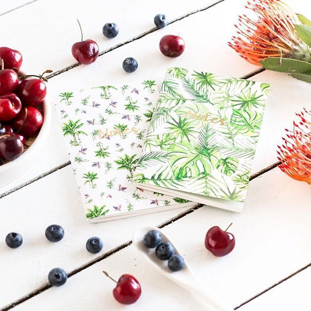 """Scribbling our thoughts and ideas for the spring/summer season on these tropical print notebooks this humpday. Can't wait for the Labour Day weekend to come.  To shop, click link in bio, or visit ebay store: junie.living under Category """"Stationary""""  Image source: The Arty Hearts  #junieliving #humpday #spring #tropical #greenandwhite #palmtree #stationary #shopping #notebook #flowers #rose #watermelon #fruit #diary #australianmade #tropical #beach #australia #hamptonsstyle #coastalliving…"""