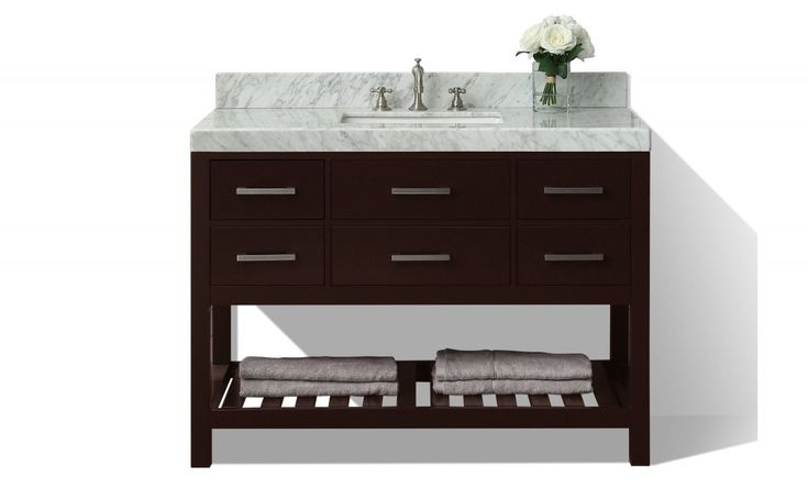 "The Elizabeth collection is a pure transitional design that brings balance and harmony to any space. No details were overlooked in crafting the Elizabeth 48"" Vanity set from selecting quality wood to using the most durable soft-close hardware. The vanity set includes a furniture style cabinet, Kaffee quartz stone top with a 4"" backsplash, rectangular undermount basin, solid wood dovetailed drawer boxes, soft-close doors, drawers and brushed nickel hardware. Complete the look with th..."