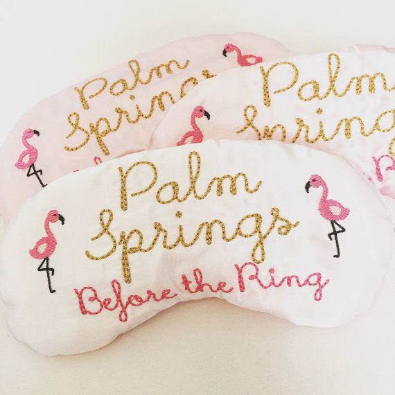 Palm Springs bachelorette party sleep mask party favors with flamingos Bridesmaid