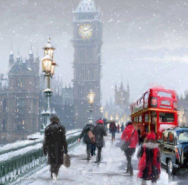Snowy day, London by Richard Macneil.