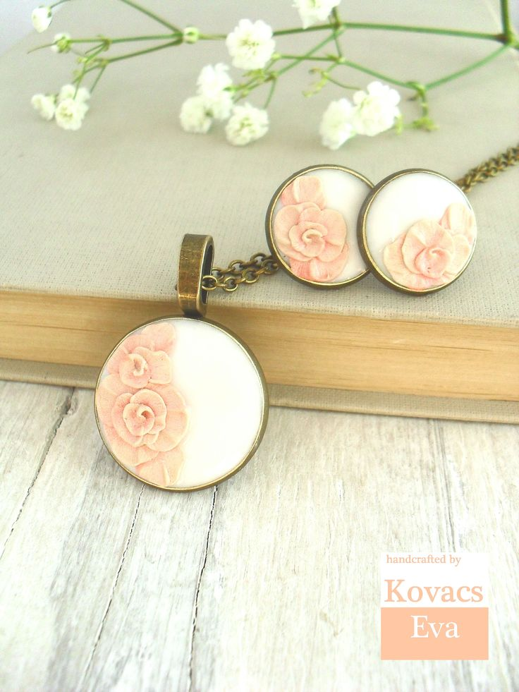 Vintage style,bridesmaid jewelry. Necklace and earrings.Handmade,peach, 3D flowers.Porcelain pendant and earrings.