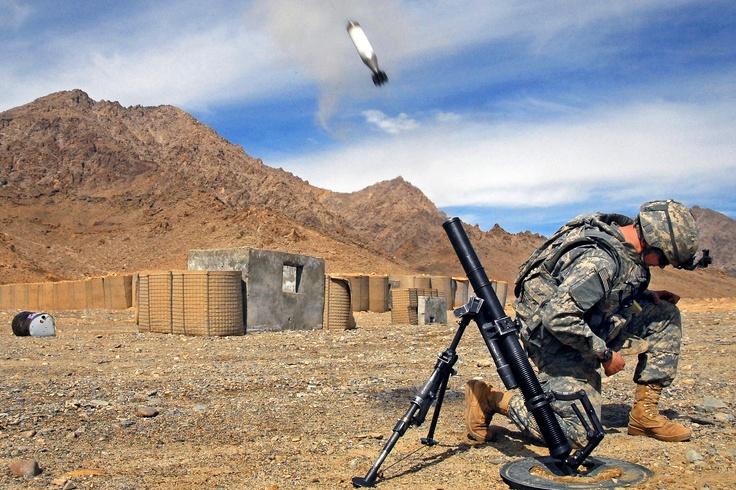 Mortar round beginning it's flight-US Army-Afghanistan