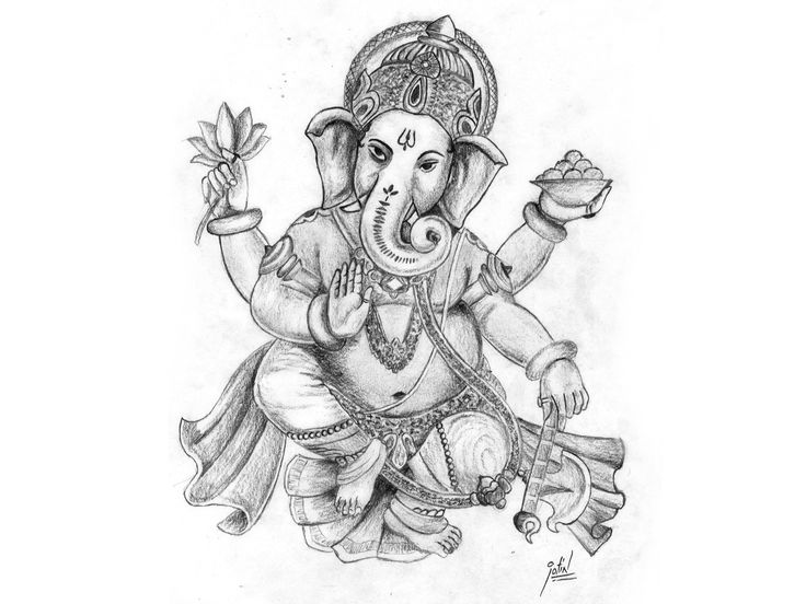 Pencil sketch of ganesha giving blessing to devotees