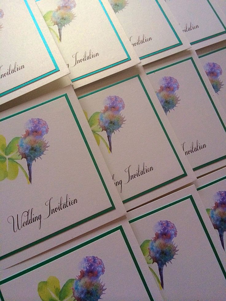 Custom made design for an Irish Bride & Scottish Groom! Ivory and emerald green pearl pocketfold cards! By Made Marvellous