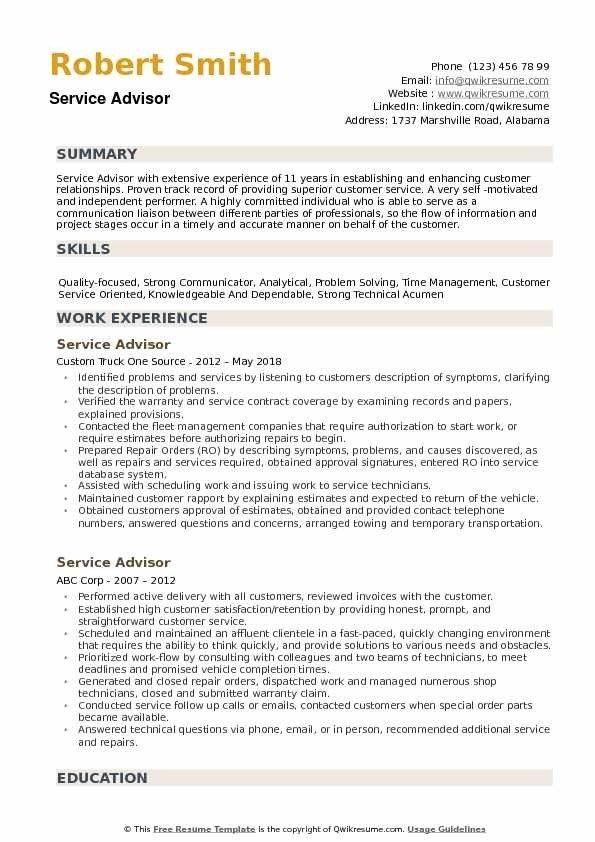 Service Advisor Resume Samples Qwikresume