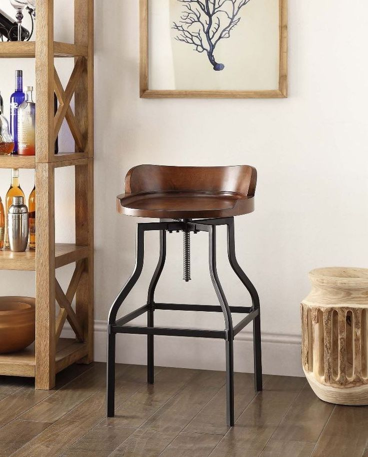 Details about Industrial Wood Adjustable Seat Barstool