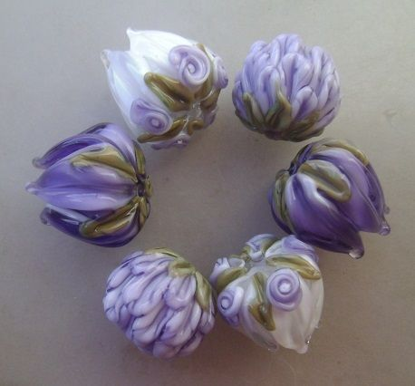 Color Story Lavender Tulip and Peony Lampwork Bead Mix | blissfulgardenbeads - Jewelry on ArtFire