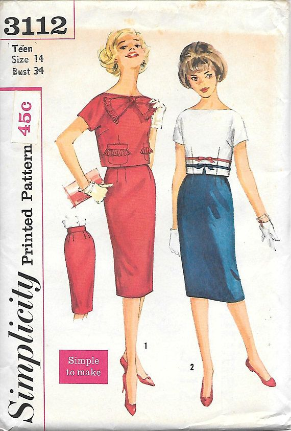 Simplicity 3112 UNCUT 1950s Fitted Skirt with Midriff Top