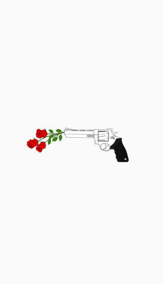 #Fondos #wallppers #gunsnroses #flower #arma #blakandwhite #red #fondo #iphone #movil