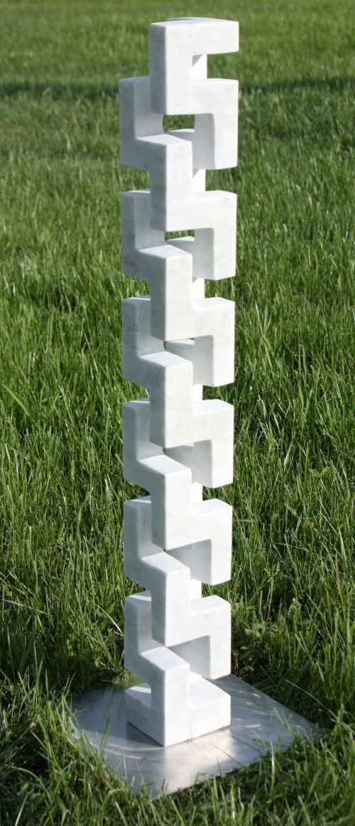 Marble Small / Little Abstract Contemporary Sculptures / statue by artist Lyudmyla Mysko titled: 'Stairs to Heaven (Carved marble abstract Vertical Carving statuette)'