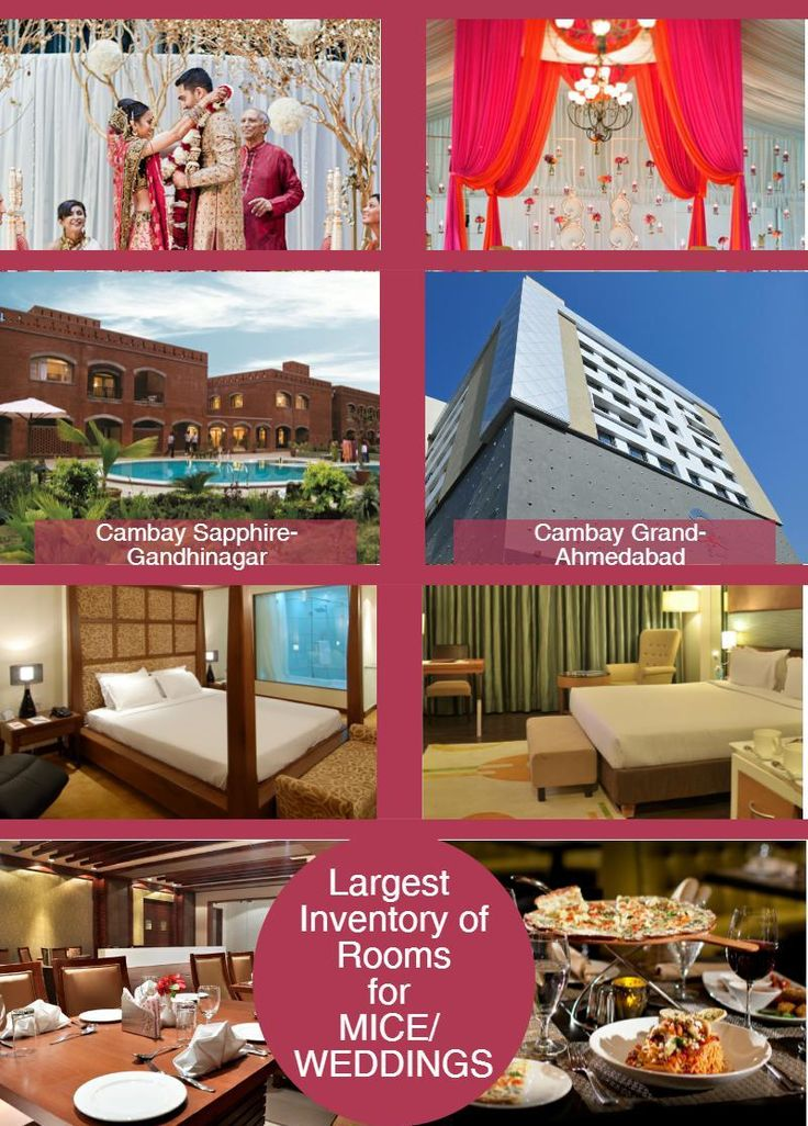 Introducing themselves as the 'Largest Room Inventory Hotels'. With Cambay Grand Ahmedabad, India and Cambay Golf Resort Gandhinagar collectively having more than 300 rooms, they are suitable to host any grand event and serve them with the best.