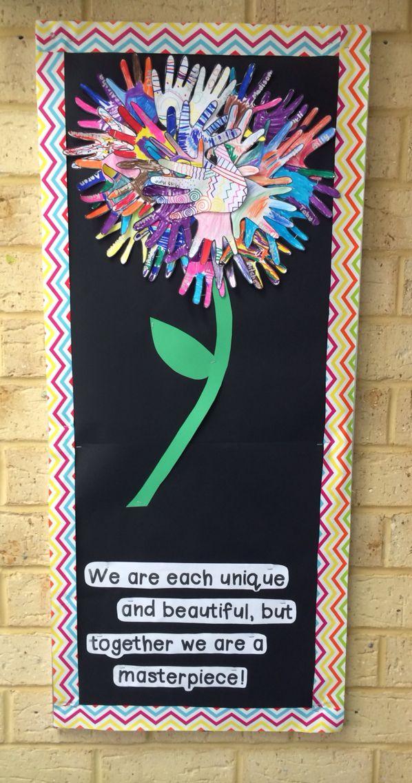 Hand print flower display board. Class community.
