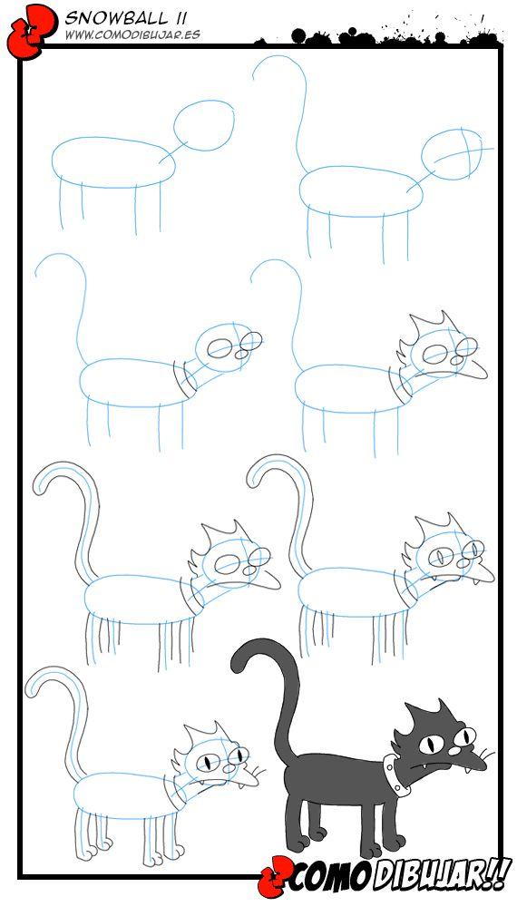 Como dibujar al gato de los simpsons. Visto en www.comodibujar.es