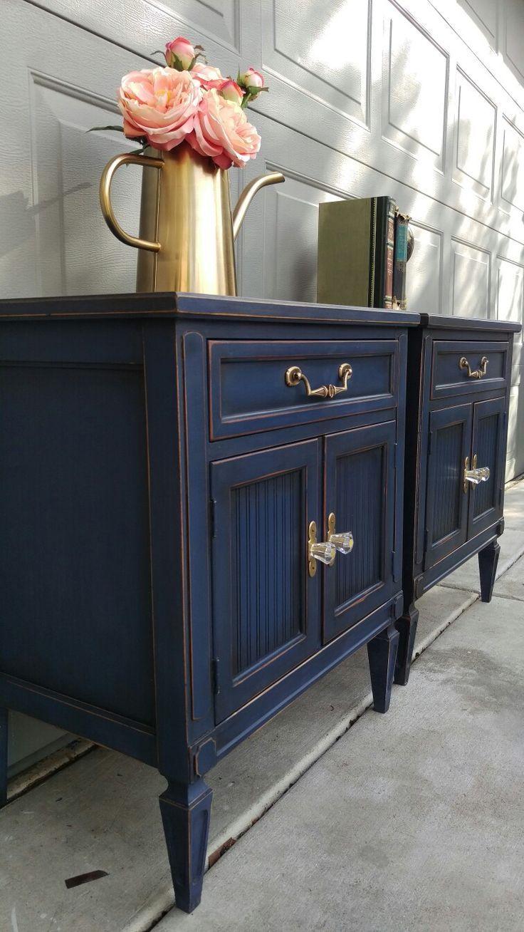 Annie Sloan Napoleonic Blue With Dark Wax Https Www Facebook Com Brushedbybrandy Blue Furniture Furniture Makeover Napoleonic Blue