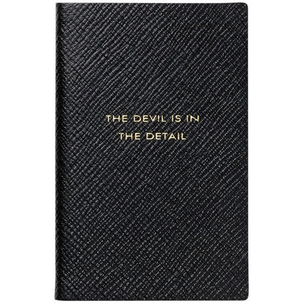 """Smythson """"The Devil is in the Detail"""" Wafer Notebook found on Polyvore featuring home, home decor, stationery and black"""