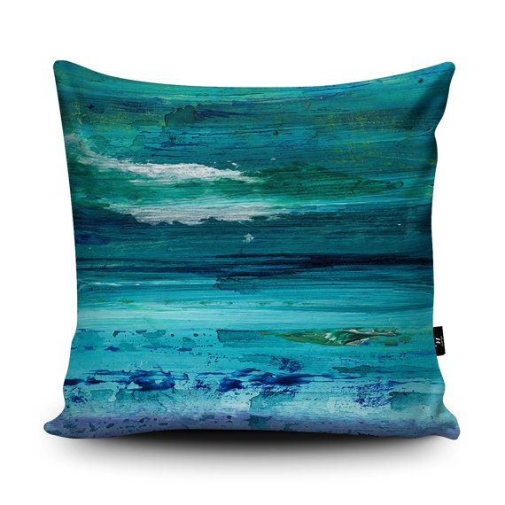 Turquoise Cushion Turquoise Pillow Seascape cushion by Wraptious