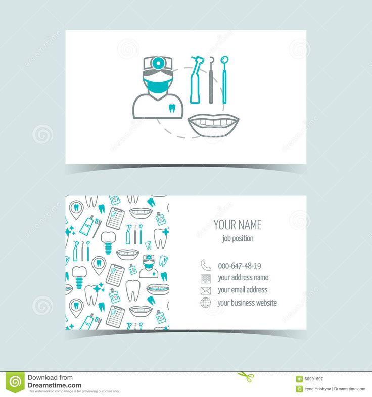 Tarjetas De Visita Para La Clínica Dental Productos Promocionales Línea Iconos Diseño Plano Vector Stock de ilustración - Imagen: 60991697