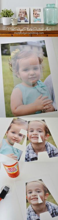 This photo initial art is so easy to make! The gifting possibilities, too, are endless . . . .this photo initial art would be perfect for a baby gift, a family holiday gift, or even a wedding present (just use the couple's last initial).