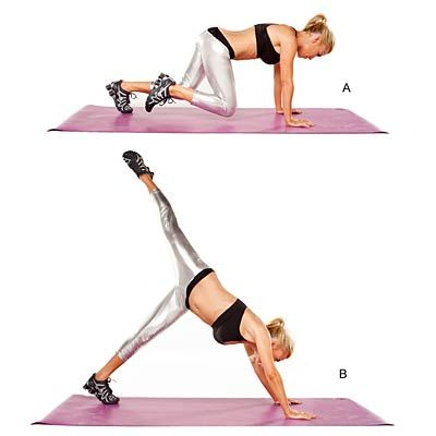 Lose 10 Inches in 10 Days. Mini squat with leg extension: Targets shoulders, upper back, chest, arms, core, glutes, quads and hamstrings. | Health.com