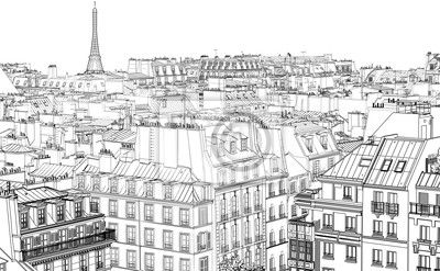 Fototapeta dachy w paryżu - eiffl - Paryż • PIXERS.pl