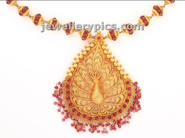 Antique Gold pendent designs temple collection - Latest Jewellery Designs