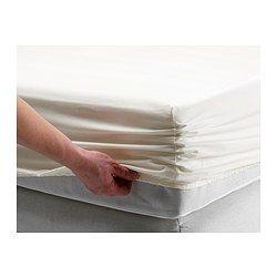 IKEA - SÖMNTUTA, Drap-housse, Grand deux places, , La percale, fil fin de coton tissé serré, est un gage de fraîcheur contre la peau.Tissage de fils fins à densité élevée procurant du linge de lit de qualité durable et ultradouce.Drap-housse à bords élastiques convenant pour matelas d'une épaisseur maximale de 34 cm.