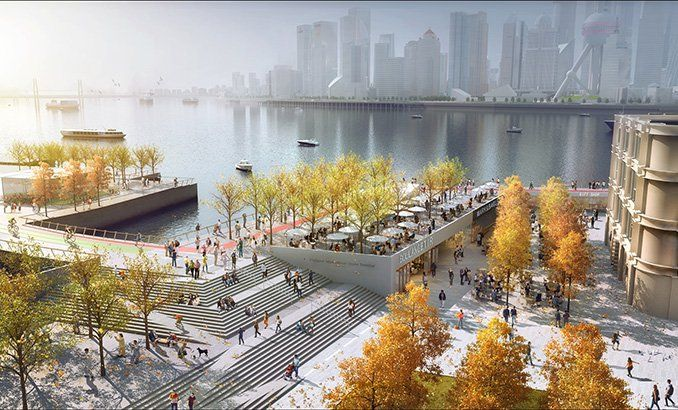 Hongkou North Bund Waterfront Masterplan and Public Realm | Shanghai, China | HASSELL #conceptual #landscape #urbanism #fall #render #trees #autumn