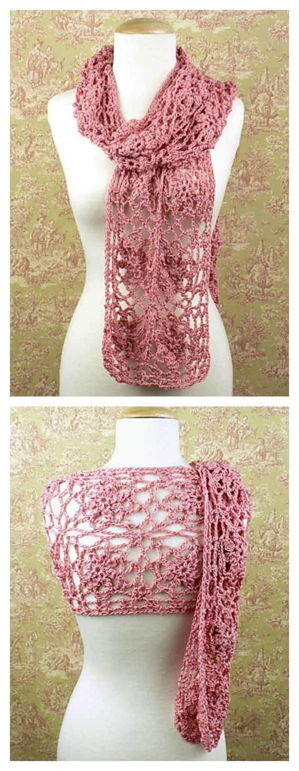 Crochet Journey Scarf with Roses Free Pattern