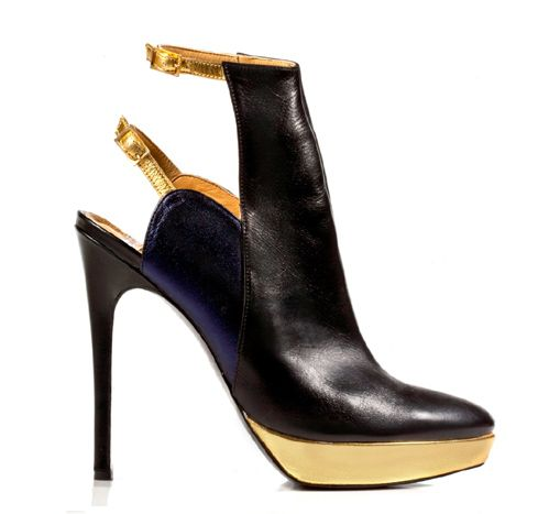 STATHIS SAMANTAS / Lambskin and calfskin booties Heel: 12.5cm with a 2cm platform