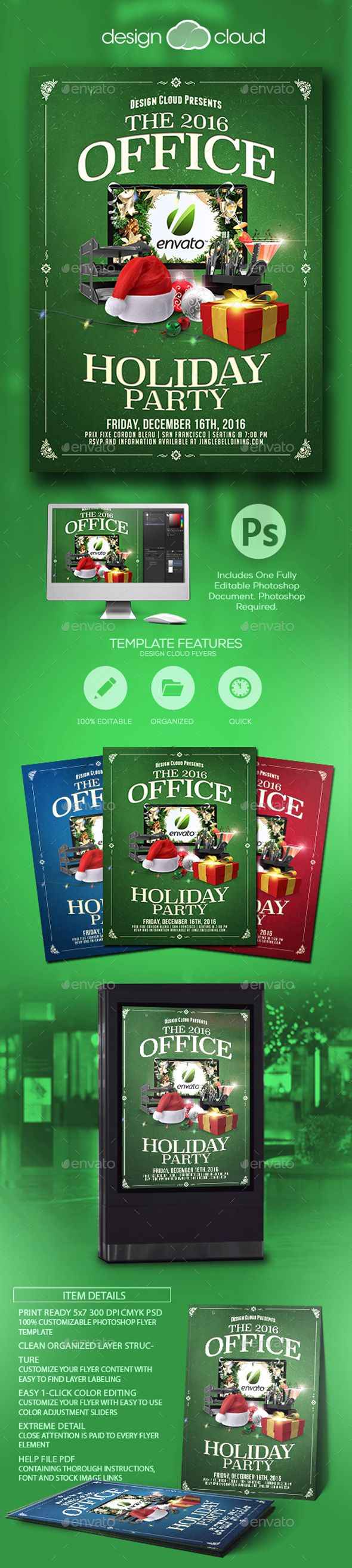 Office Holiday Christmas Party Flyer Template  Party Flyer Flyer
